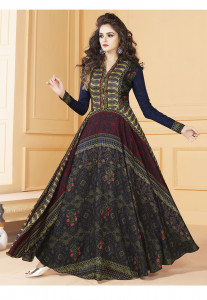 Stylee Lifestyle Blue Color Printed Gown-1563