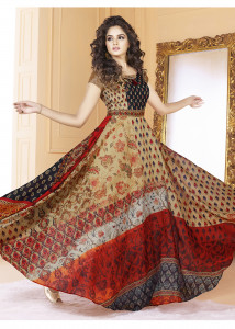 Stylee Lifestyle Blue Color Printed Gown-1564