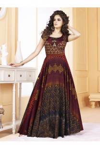 Stylee Lifestyle Maroon Color Printed Gown-1565