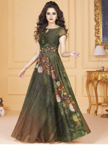 Stylee Lifestyle Green Color Printed Gown-1566