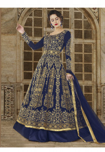 Stylee Lifestyle Navy Blue Color Printed Gown-1544
