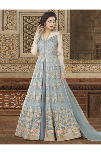 Stylee Lifestyle Grey Color Printed Gown-1545