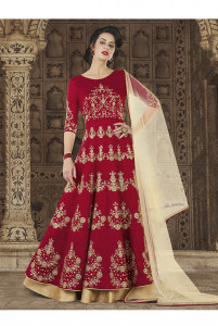 Stylee Lifestyle Maroon Color Printed Gown-1546