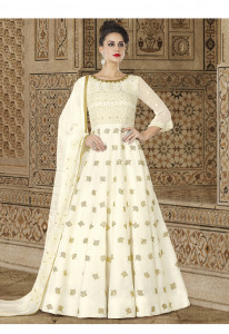 Stylee Lifestyle Cream Color Printed Gown-1548