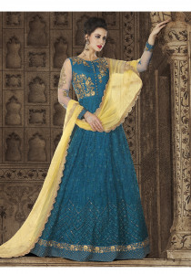 Stylee Lifestyle Blue Color Printed Gown-1549