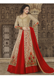 Stylee Lifestyle Beige  Color Printed Gown-1552