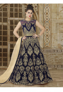 Stylee Lifestyle Navy Blue  Color Printed Gown-1554