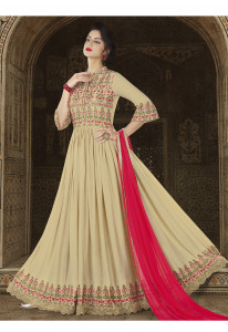 Stylee Lifestyle Beige  Color Printed Gown-1555