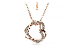 Gold Toned Double Heart Pendant Necklace For Women