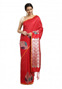 Stylee Lifestyle Red Banarasi Silk Jacquard Saree - 2074