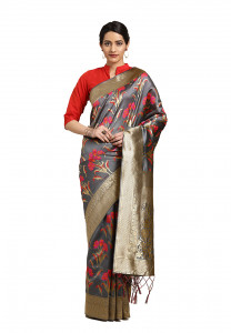 Lifestyle Grey Banarasi Silk Jacquard Saree - 2076