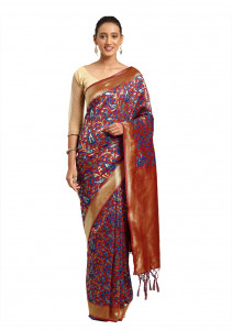 Stylee Lifestyle Red Banarasi Silk Jacquard Saree  - 2084