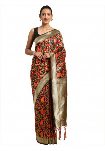 Stylee Lifestyle Red Banarasi Silk Jacquard Saree  - 2086