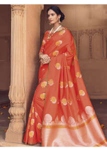 Stylee Lifestyle Orange Banarasi Silk Jacquard Saree - 2117