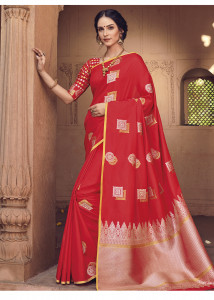 Stylee Lifestyle Red Banarasi Silk Jacquard Saree  - 2118