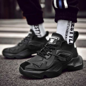 Athletic Height Increase Gym Outdoor Sneakers For Men - Black