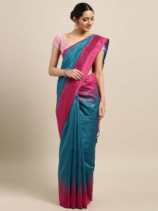 Stylee Lifestyle Blue  Ikkat Zigzag Woven Design Saree-2131