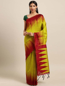 Stylee Lifestyle Yellow  Ikkat Zigzag Woven Design Saree-2132