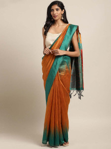 Stylee Lifestyle Orange Ikkat Zigzag Woven Design Saree-2134