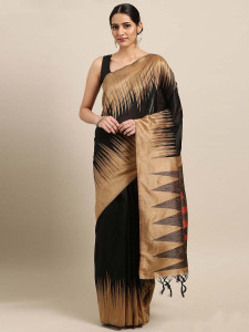Stylee Lifestyle Black Ikkat Zigzag Woven Design Saree-2135