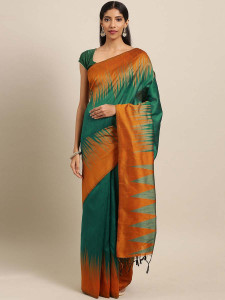 Stylee Lifestyle Green Ikkat Zigzag Woven Design Saree-2138