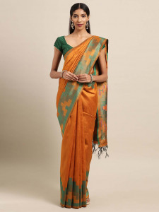 Stylee Lifestyle Orange Ikkat Silk Jacquard Saree-2140
