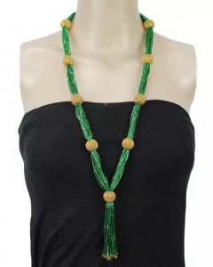 Green/Gold Beads Woven Slip Through Pote Necklace For Women