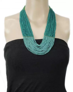 Turquoise Multilayered Beads Woven Pote Necklace For Women