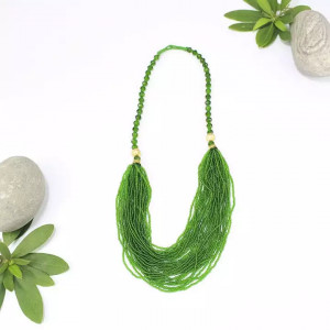 Green Beaded Pote Necklace For Women