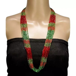 Red/Green Jhuppa Pote Haar Necklace