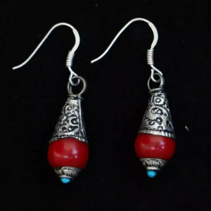 Red Small Tibetan Style Earring