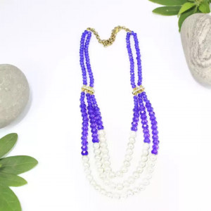 Royal Blue/Golden Beaded Open Collar Pote Necklace for Women