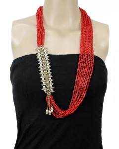 Red/White Stones And Beads Woven Pote Necklace For Women
