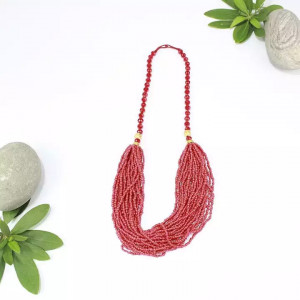 Pink Beaded Pote Necklace For Women