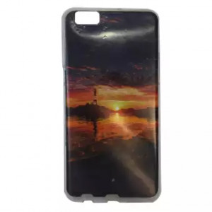 Sunset Printed Back Cover For Oppo F3+ - Multicolor