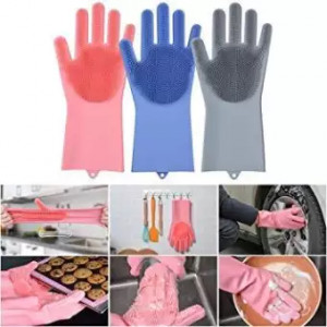 Gloves Magic Dishwashing Gloves with Scrubber, Silicone Cleaning Reusable Scrub Gloves for Wash Dish,Kitchen, Bathroom (Assorted Colours)