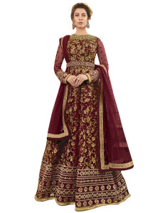 Stylee Lifestyle Maroon Net Embroidered Dress Material - 2347