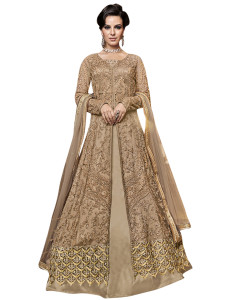 Stylee Lifestyle Beige Net Embroidered Dress Material - 2354