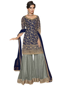 Stylee Lifestyle Navy Blue Net Embroidered Dress Material - 2357