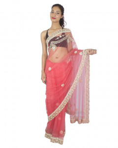Net Pink Sari With Diamond Work