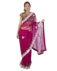 Dark Magenta Net Sari With Stones Work