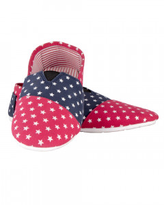Shikhar Men's Red Blue Star Printed Moccasins