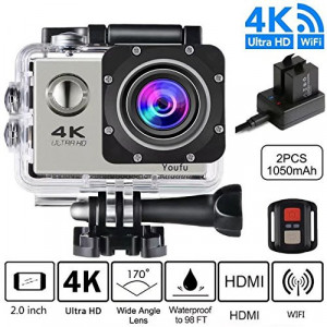 Action Camera, 4K Ultra HD 1080P WiFi Waterproof Mini Sport Cam with 16MP Remote Control 30M 170 Degree Wide Angle 2.0 Inch LCD 100 Feet Underwater with Accessories Kits and Rechargeable Battery