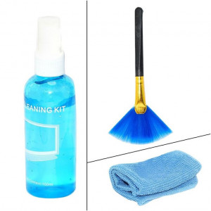 Aafno Pasal 3 In 1 Screen Cleaning Kit With Microfiber Cloth & Brush For Laptops,Mobiles,LCD,LED,Computers
